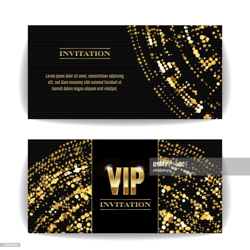 VIP Invitation Card Vector. Sequins Round Dots. Decorative Vector Background. Elegant Template Luxury Invitation