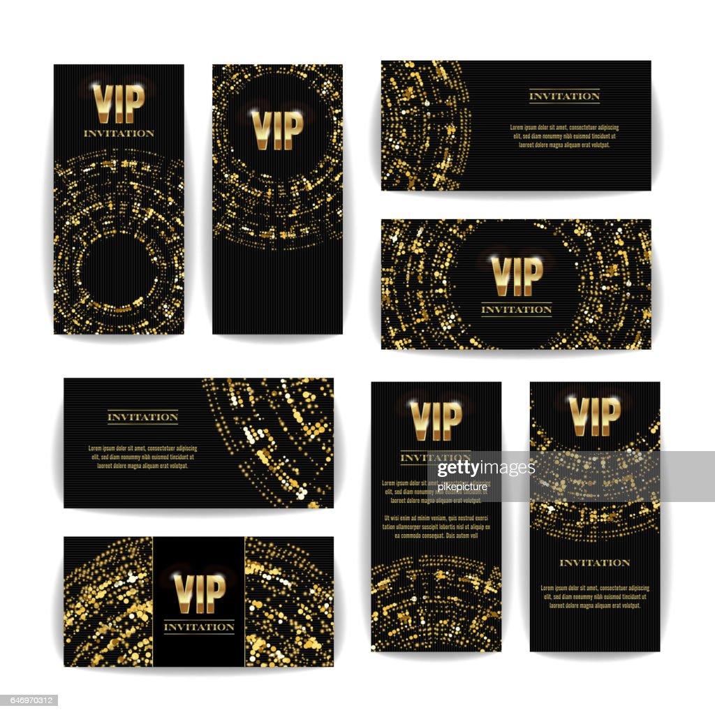 VIP Invitation Card Vector Set. Party Premium Blank Poster Flyer. Black Golden Design Template. Decorative Vector Background. Elegant Template Luxury Invitation