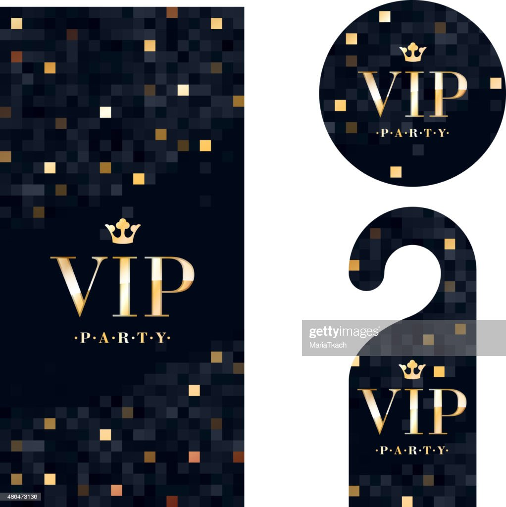 VIP invitation card, warning hanger and badge