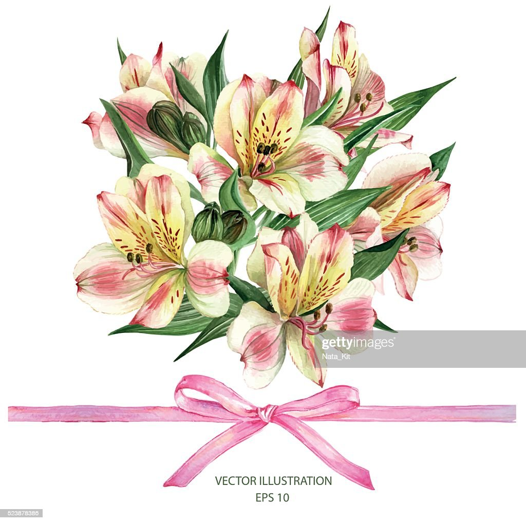 Invitation card with Alstroemeria flowers.