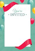Invitation card with balloons, ribbons and confetti sheet.