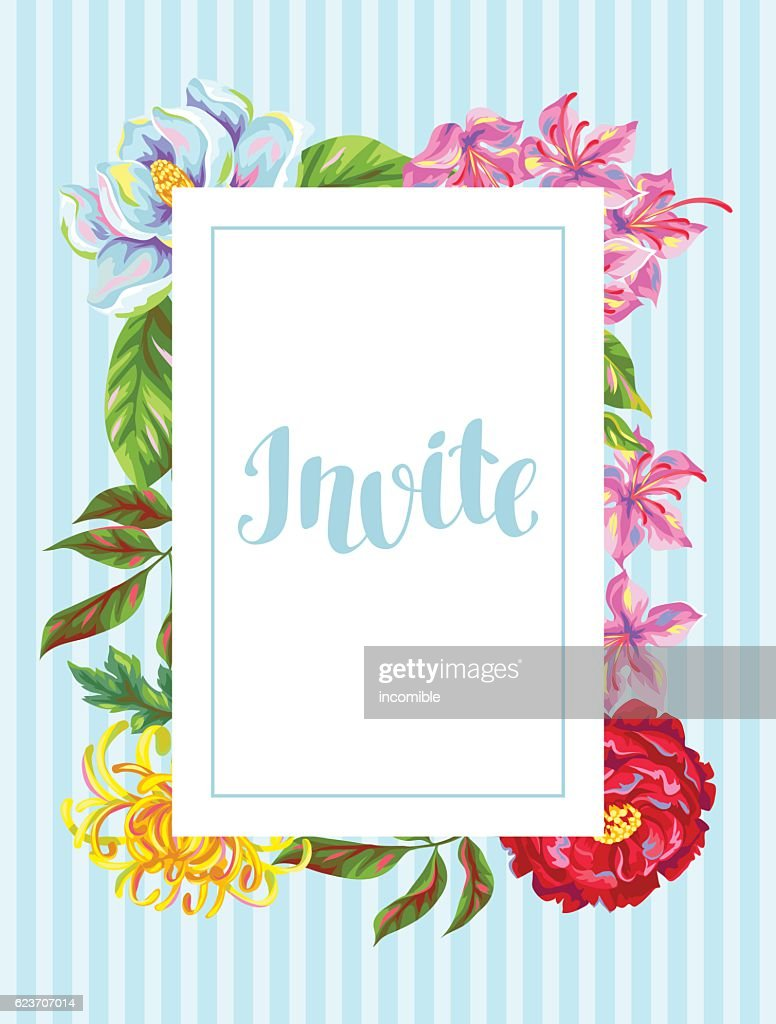 Invitation card with China flowers. Bright buds of magnolia, peony