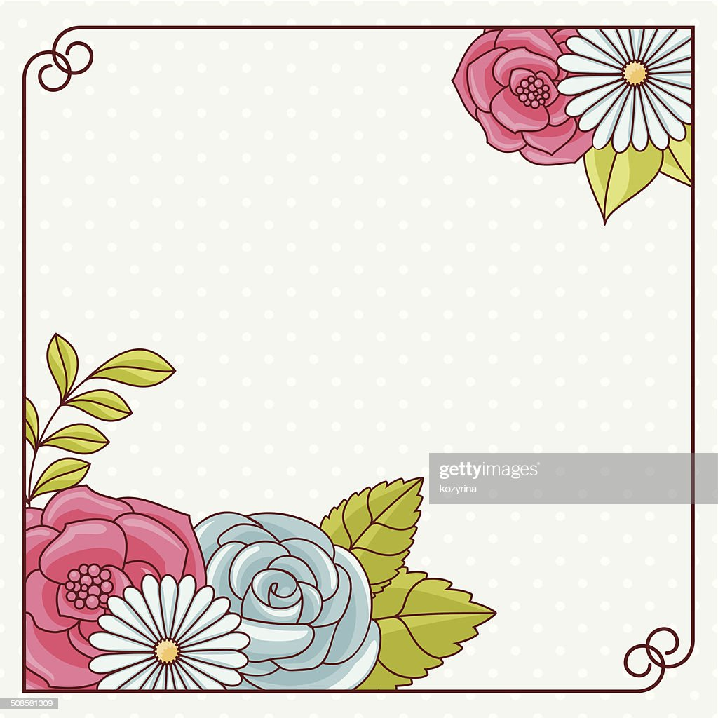 Invitation card with flowers. : Vector Art