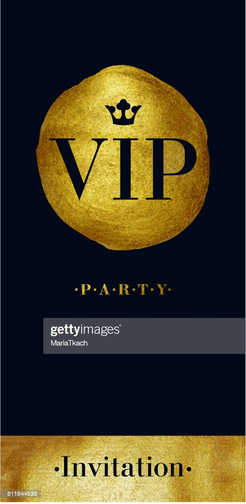 VIP invitation card with golden paint brush stroke