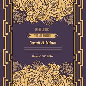 Invitation card with hand drawn golden roses background