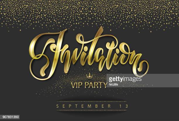 "vip invitation card with lettering ""invitation"" - celebrities stock illustrations, clip art, cartoons, & icons"