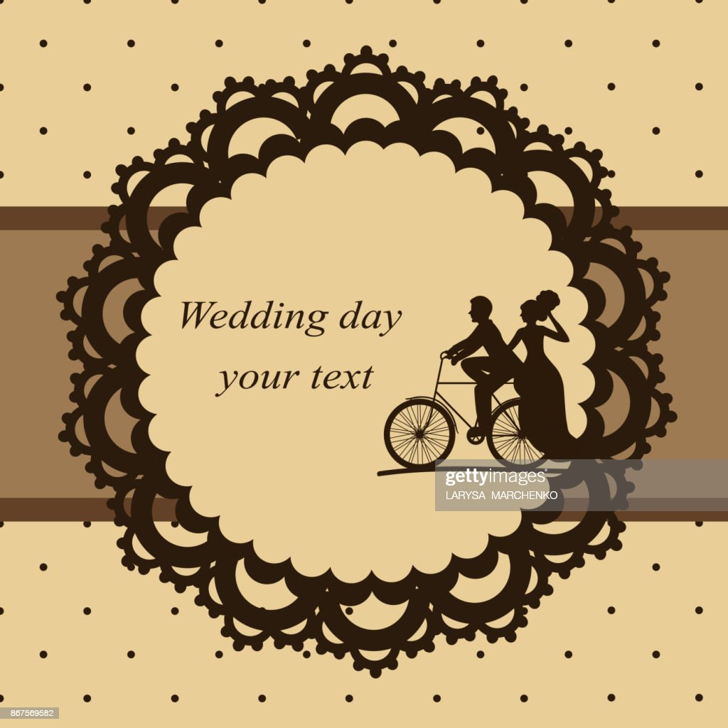 Invitation card with newlyweds on a bicycle