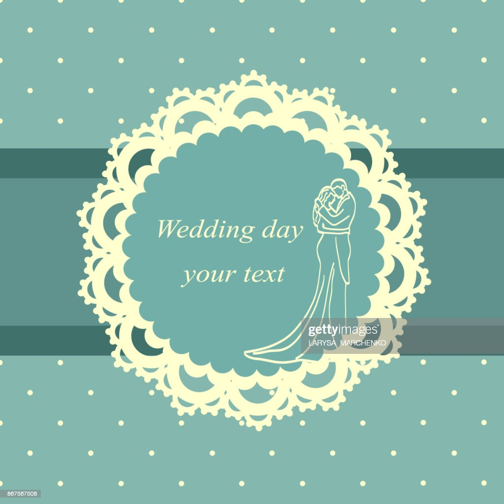 Invitation card with the bride and groom in vintage style.