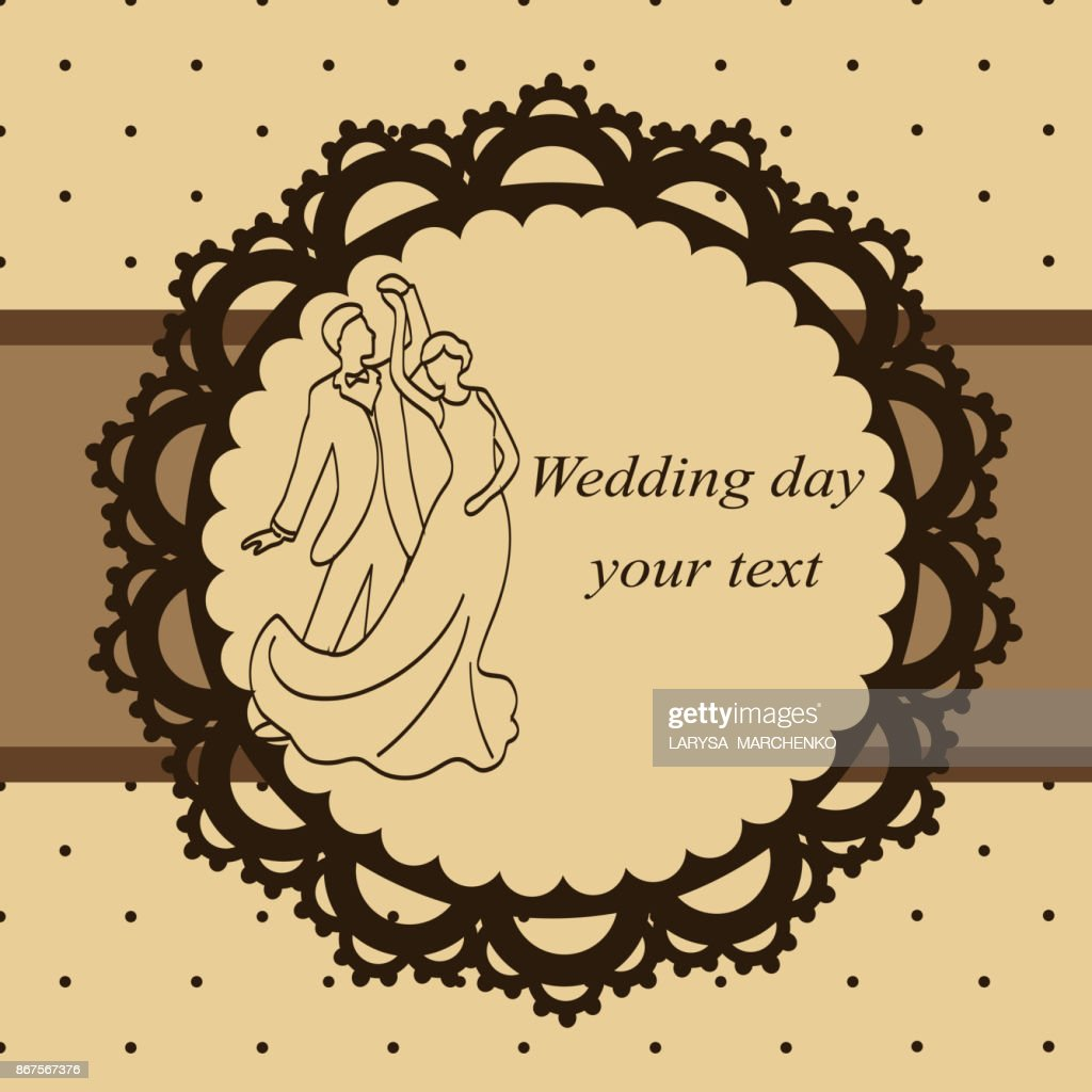 Invitation card with the bride and groom