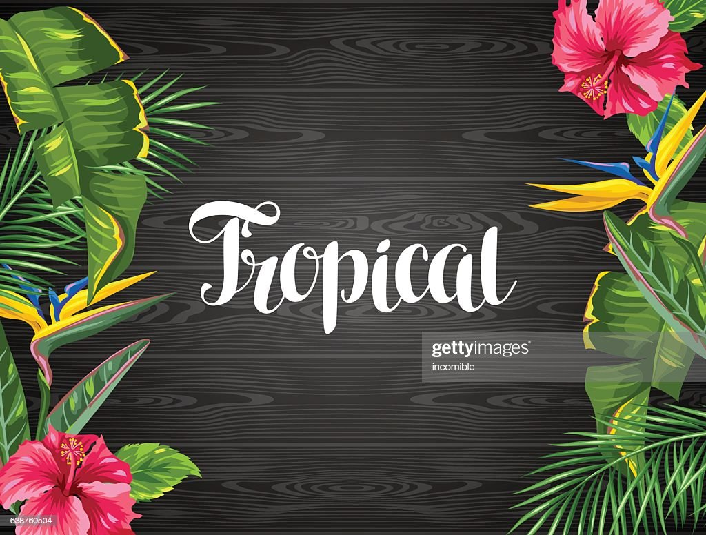 Invitation card with tropical leaves and flowers. Palms branches, bird