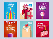 Invitation cards for kids birthday party. Vector design template with place for your text