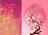 invitation cards with a blossom sakura