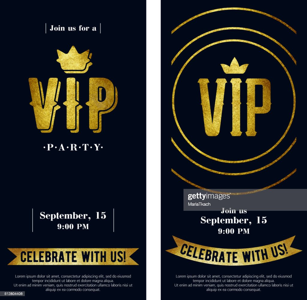VIP invitation cards with golden paint letters