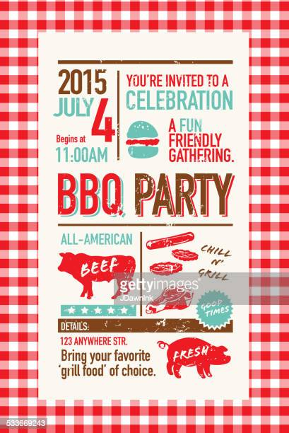 bbq invitation design template on checkered tablecloth - picnic stock illustrations