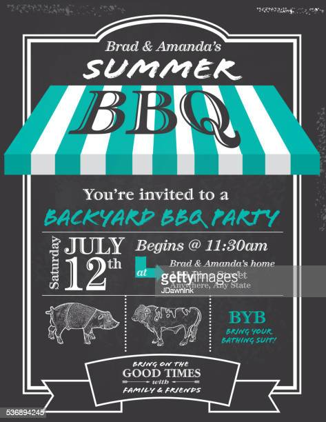 bbq invitation design template with blue awning - awning stock illustrations, clip art, cartoons, & icons