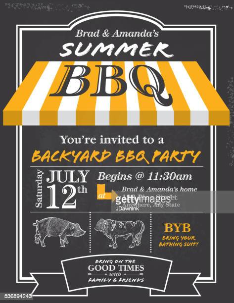 BBQ invitation design template with yellow awning