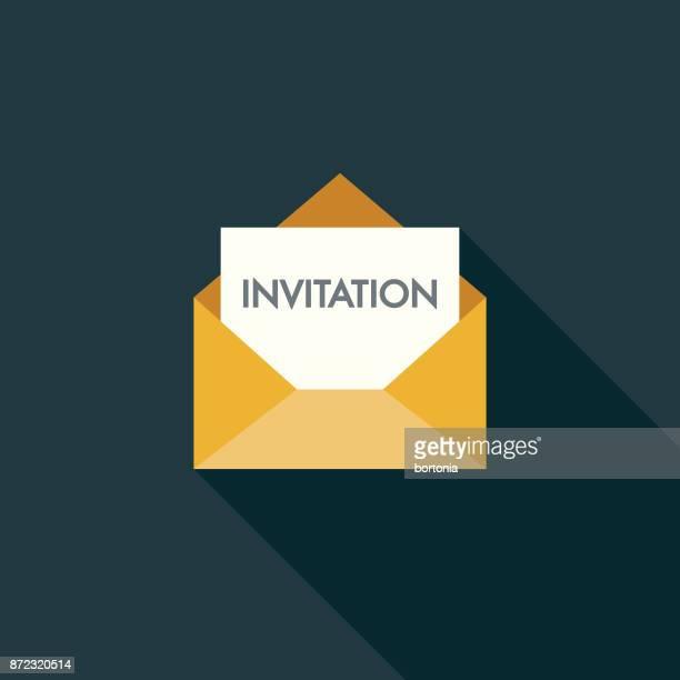 einladung flache party designikone mit seite schatten - briefumschlag stock-grafiken, -clipart, -cartoons und -symbole