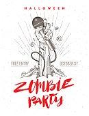 Invitation for halloween zombie karaoke party.