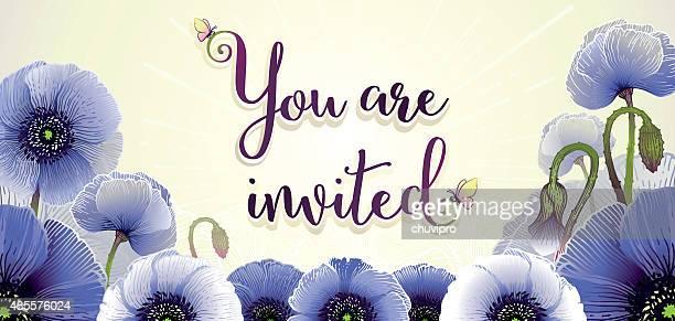 Invitation horizontal card 21x10 cm Anemones Flowers