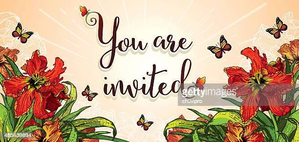 ご招待カード 21 x 横 10 cm レッドのパロットのチューリップ