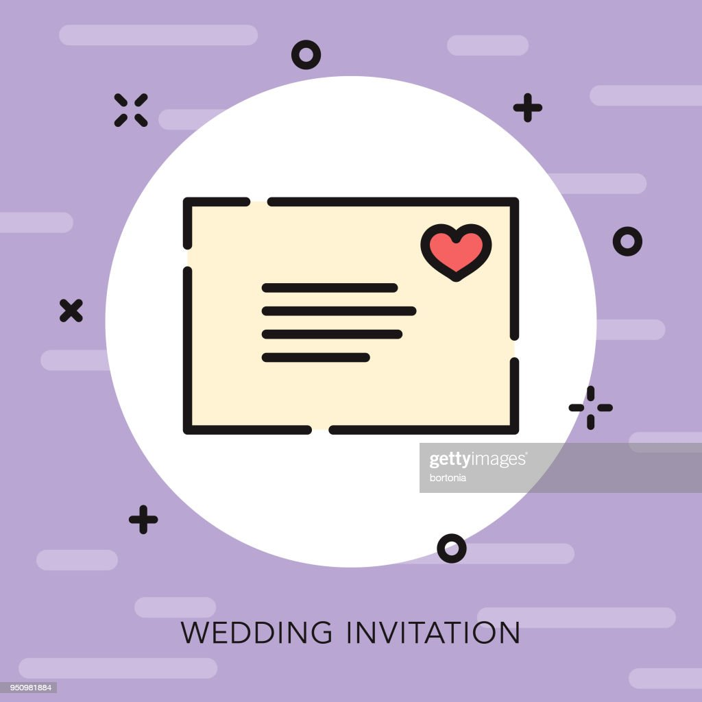 Invitation Open Outline Wedding Icon Vector Art Getty Images