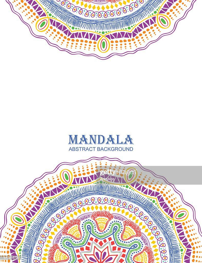 Invitation Or Card With Colorful Mandala Design.