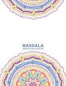 Invitation Or Card With Colorful Mandala Design.