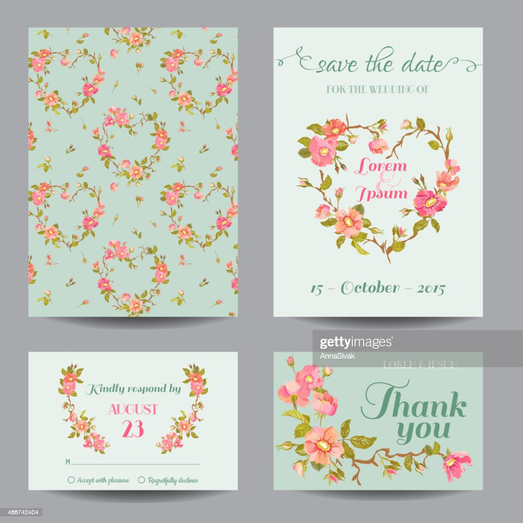 Invitation or congratulation card with flower heart pattern