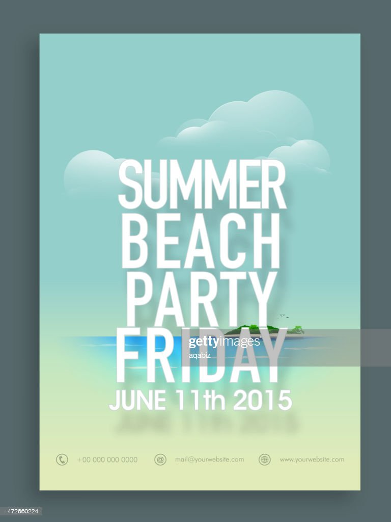 Invitation or flyer design for summer party.