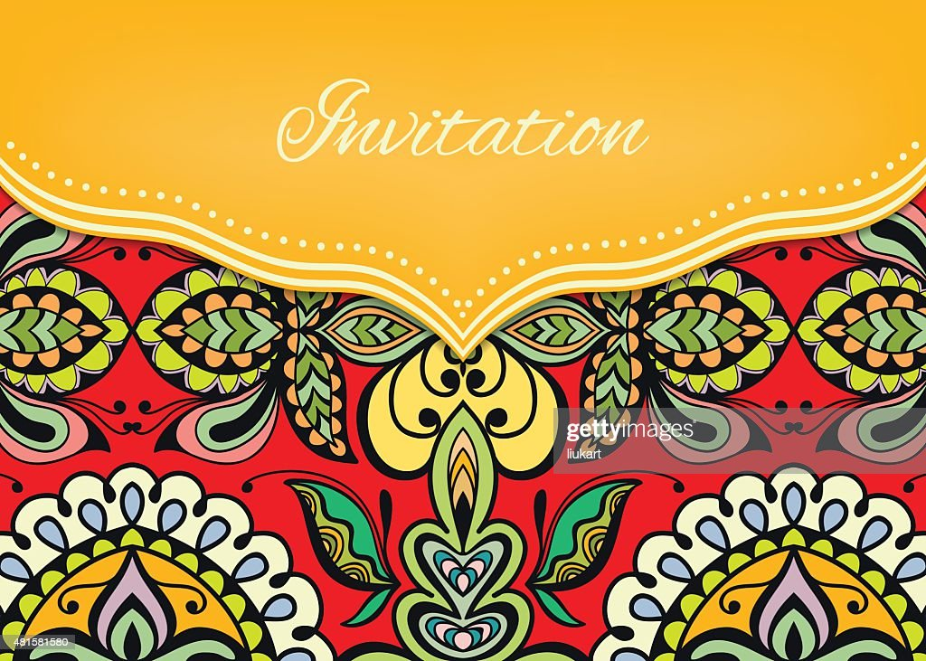 Invitation or wedding card with ornate background, tribal ethnic lace
