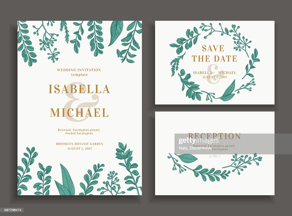 Invitation, save the date, reception card.