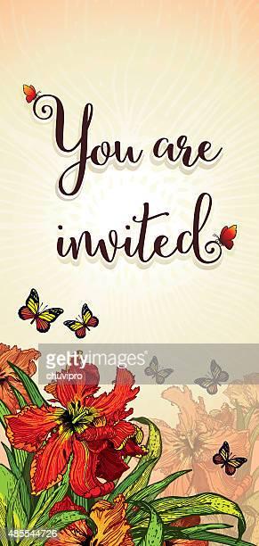 ご招待カード 10 cm x 高さ 53 cm の赤いチューリップパロット