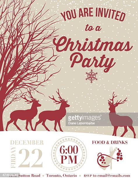 invitation template for a holiday party with deer and snow - party social event stock illustrations, clip art, cartoons, & icons