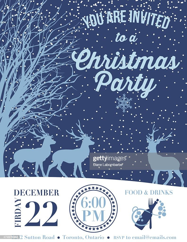 Invitation template for a holiday party with deer and snow vector invitation template for a holiday party with deer and snow vector art pronofoot35fo Choice Image