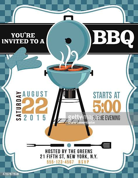 BBQ Invitation Template On Blue White Checked Background