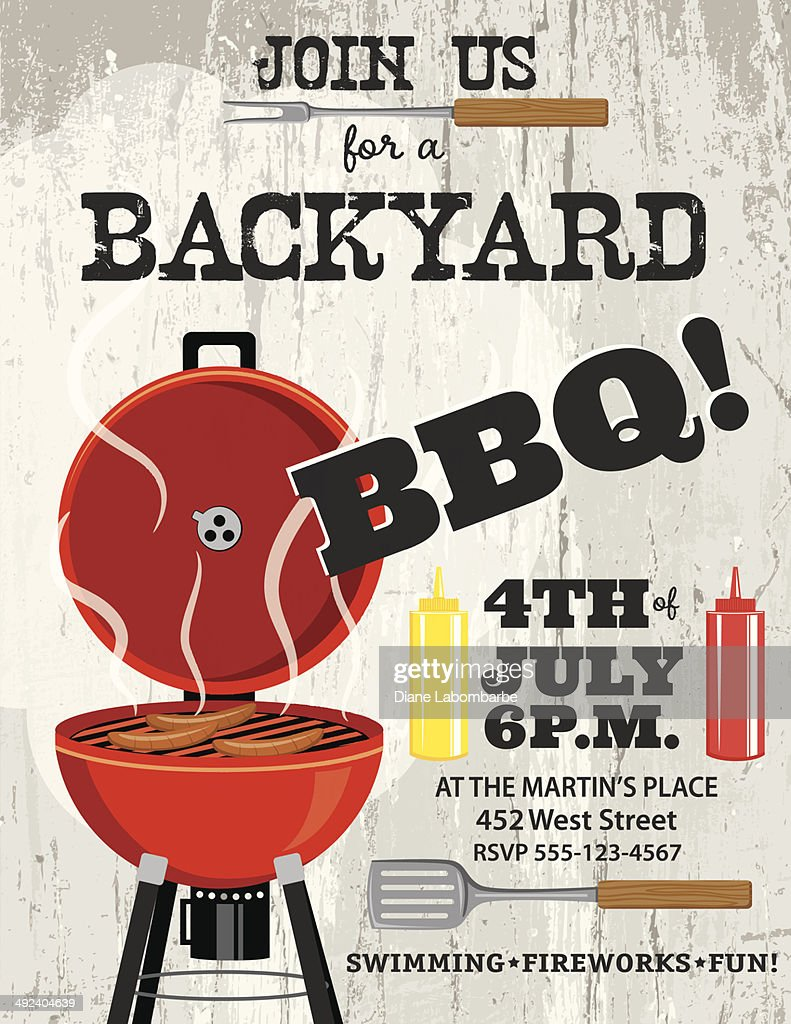 bbq invitation template vector art getty images
