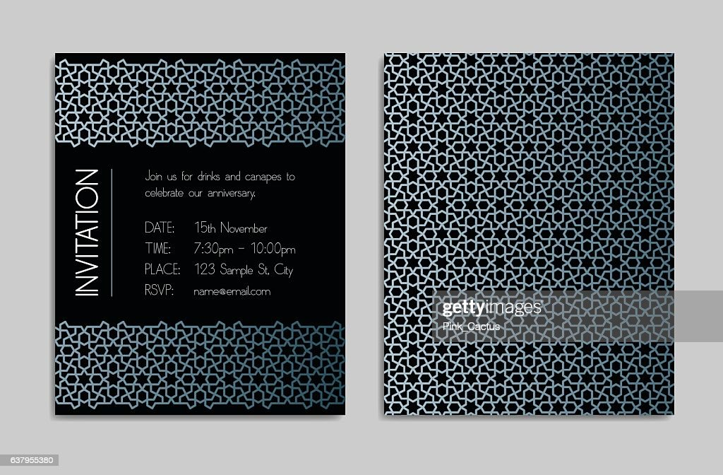 Invitation template with geometric pattern