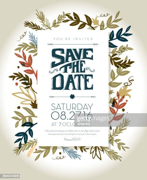 Invitation template with hand drawn leaf and lettering elements