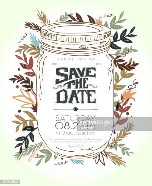 Invitation template with hand drawn leaf,  jar and lettering elements