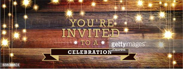 Invitation text with wooden planks banner background and string lights