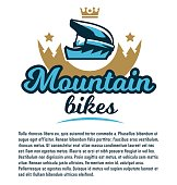 Invitation to participate in downhill mountain biking. Extreme sport. The emblem of the bicycle helmet. Template for text. Vector illustration. Flat style