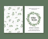 Invitation to the wedding with plant pattern