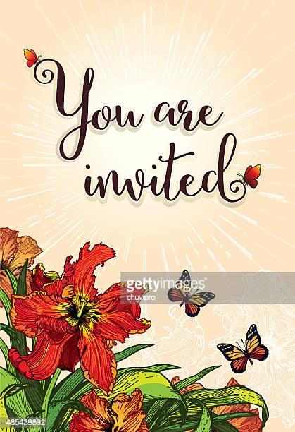 招待状垂直のカード 10 .4 x 15 .2 cm レッドのパロットチューリップ