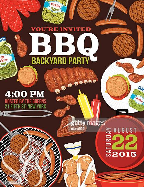 BBQ Invitation With Foods, Grill and Room For Text