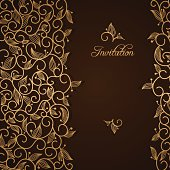 Invitation with gold lace floral ornament