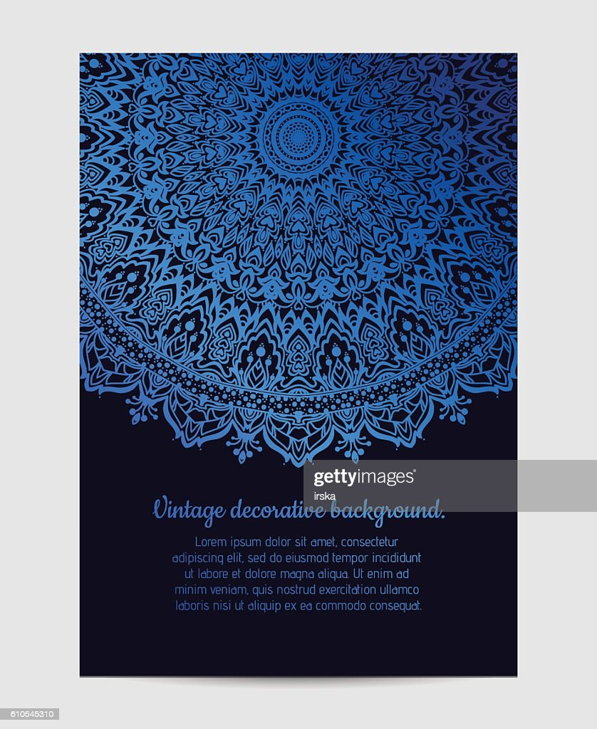 Invitation with hand drawn mandala pattern.