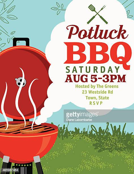 BBQ Invitation With Smoke Template