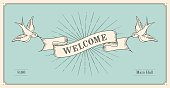 Invitation with word Welcome, old vintage ribbon banners in engraving