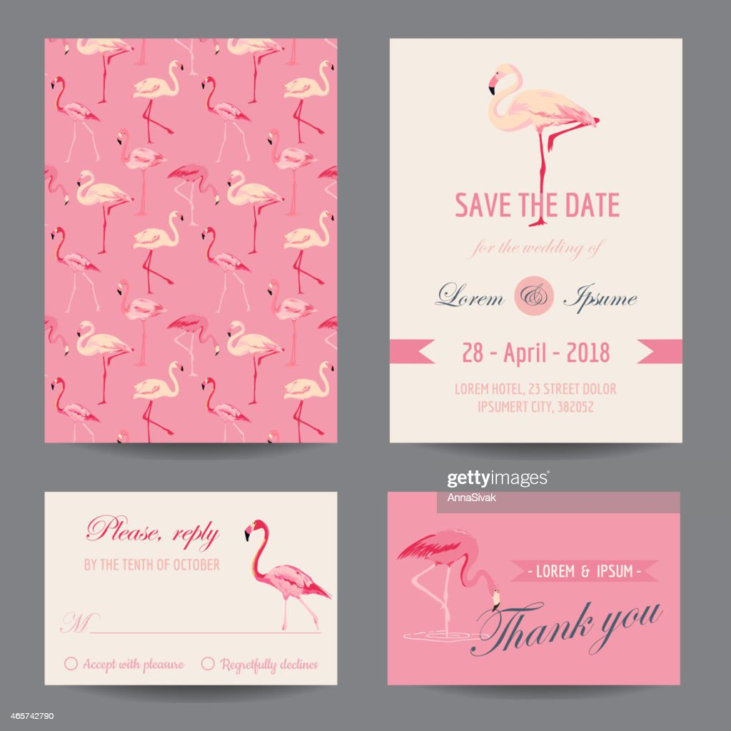 Invitation/Congratulation Card Set - Flamingo Theme
