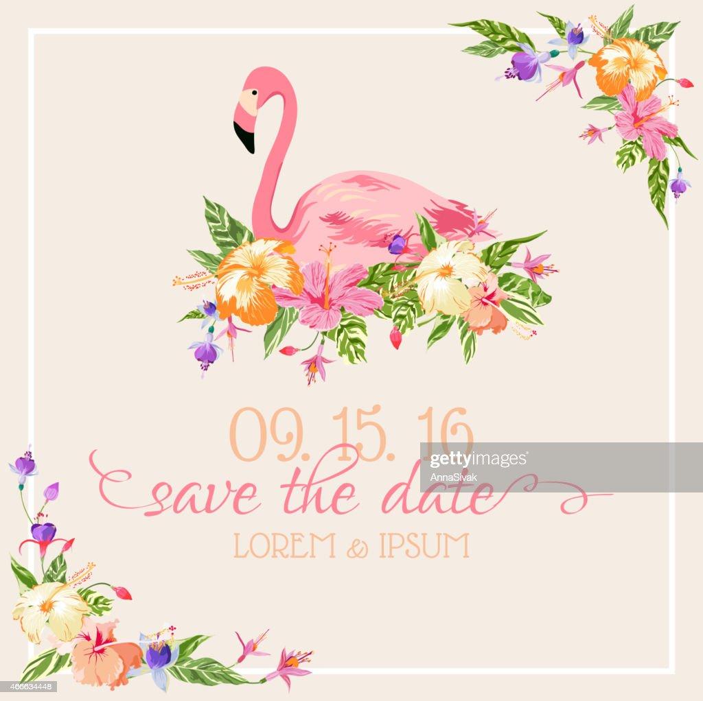 Invitation-Congratulation Card Set - Flamingo Theme